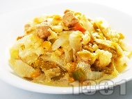 Китайско зеле със соя, царевица и праз